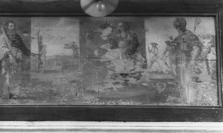 Tableau : Education de la Vierge ; saint Barthélemy et saint Blaise ; Martyre de saint Sébastien ; saint Roch et l'ange, panneau peint