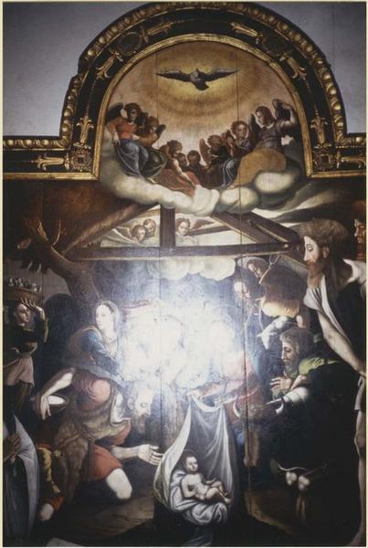 Tableau : l'Adoration des bergers, vue partielle