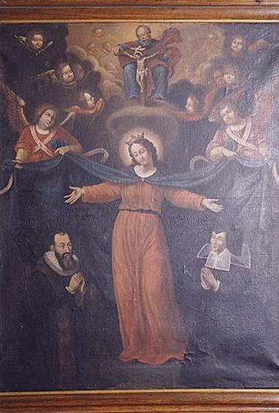 Tableau : la Vierge de miséricorde protégeant Nicolas Deslandes et barbe Richard (numéro d'inventaire : 87 GHC 0064)
