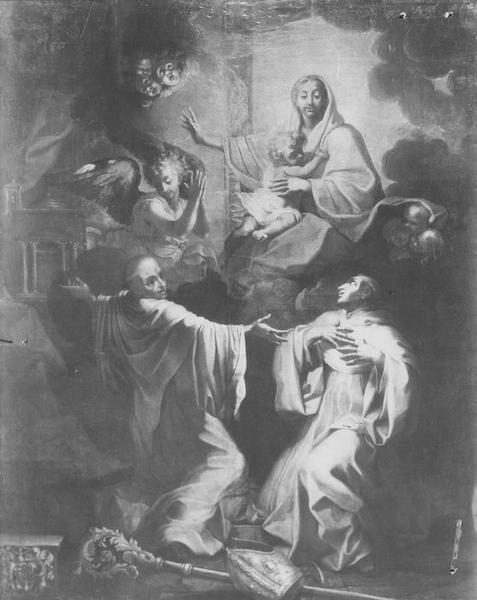 Tableau : saint Bernard contemplant la Vierge, ou Saint Bernard et saint Etienne Harding aux pieds de la Vierge
