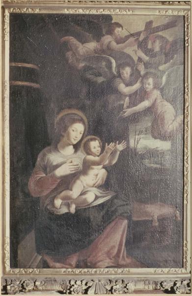 Tableau et cadre : la Croix présentée par les anges à l'Enfant Jésus
