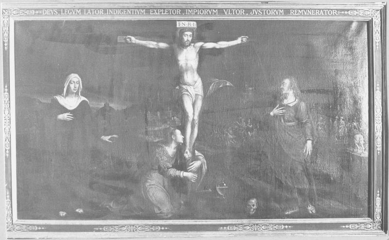 Tableau et cadre : la Crucifixion avec la Vierge, saint Jean et sainte Madeleine
