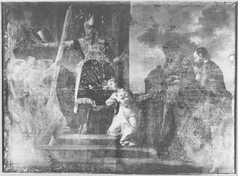 Tableau et cadre : la Présentation de la Vierge au Temple