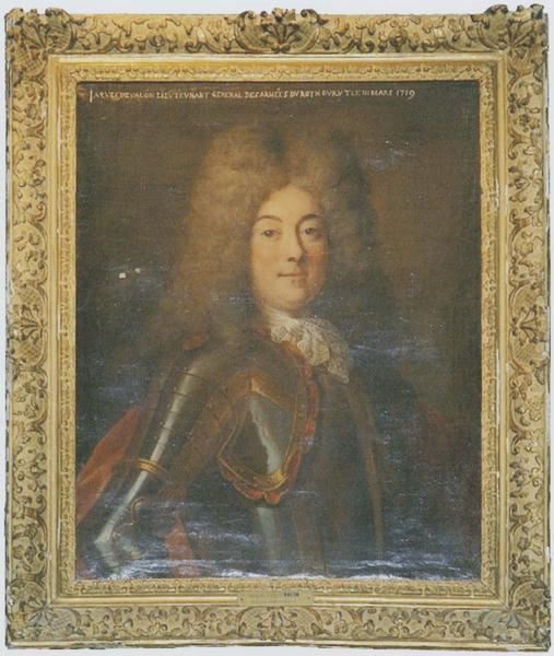 Tableau et son cadre : portrait de Jacques Louis de Valon, marquis de Mimeure