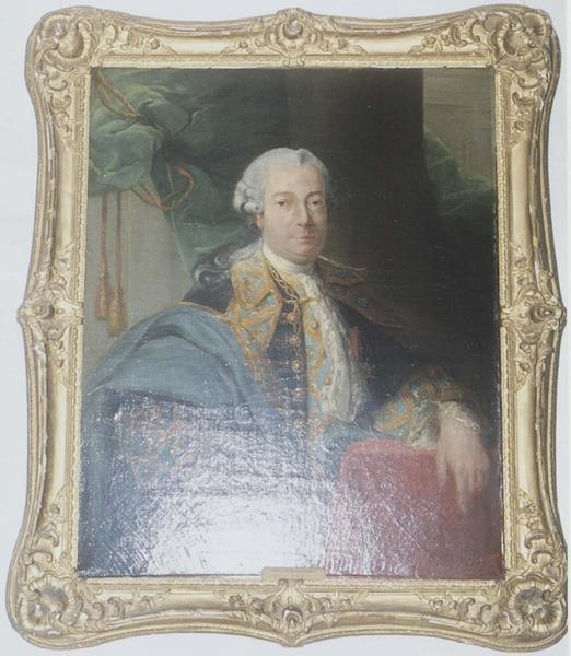 tableau et son cadre : portrait du marquis du Terrail, vue générale