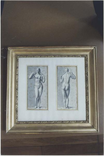 2 dessins réunis dans un cadre : Vénus , statue antique de femme, trouvée à Pontailler-sur-Saône