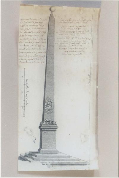 Dessin et son cadre : l'obélisque élevé à Plombières-lès-Dijon en l'honneur du Grand Dauphin
