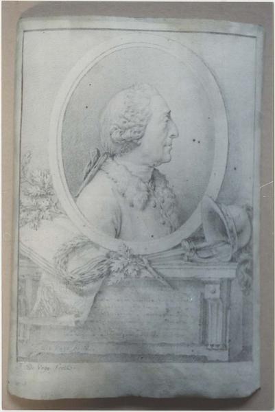 Dessin et son cadre : portrait d'homme (Legouz de Gerland ?)