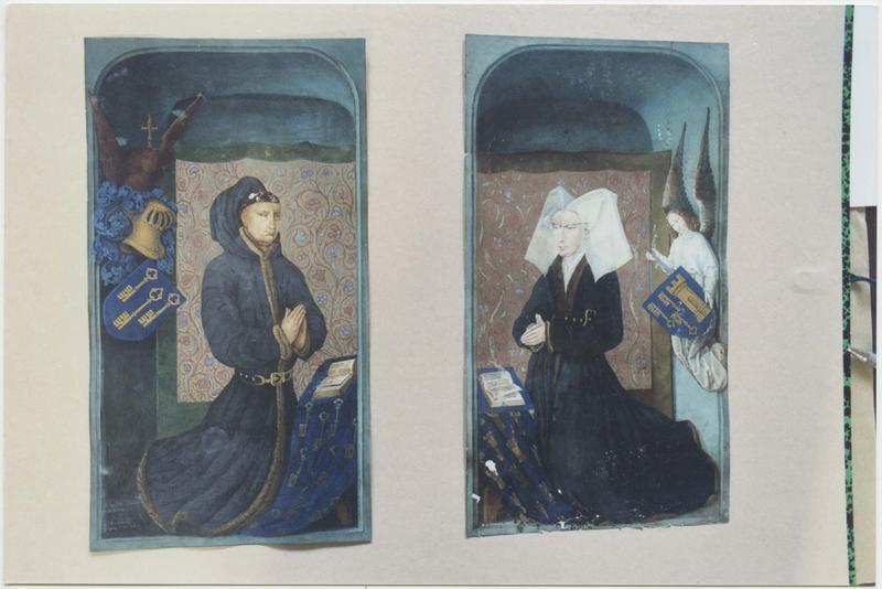 2 peintures (gouaches) : Nicolas Rolin et Guigone de Salins