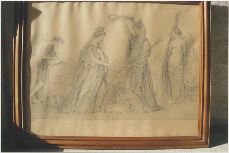 dessin : l'Apothéose de la Bourgogne, ou la Puissance honore la Bourgogne, vue générale