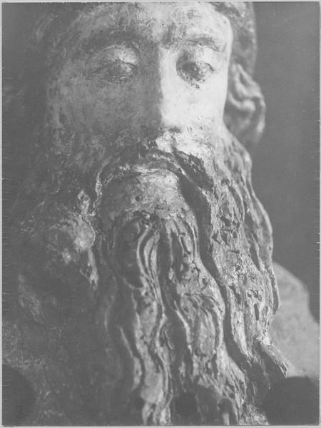 statue : un saint abbé, détail