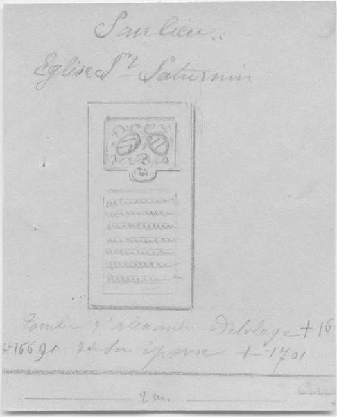 Dalle funéraire d'Alexandre de Laloge et de Reyne Terrion, vue générale