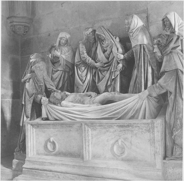 Groupe sculpté : Mise au tombeau, vue partielle