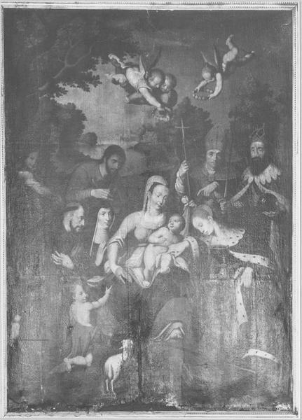 Tableau : l'Adoration de l'enfant Jésus, vue générale