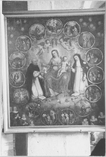 Tableau : la Donation du rosaire à saint Dominique et à sainte Catherine de Sienne, avec les quinze mystères, vue générale