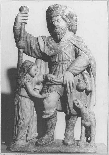 Groupe sculpté : saint Roch, vue générale