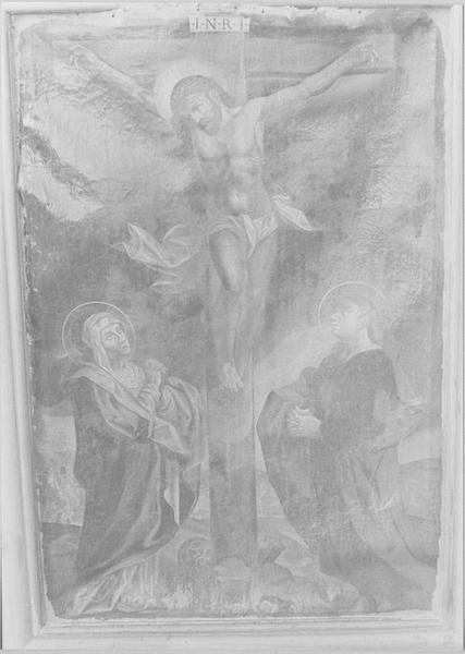 Tableau : le Christ en croix entre la Vierge et saint Jean, vue générale