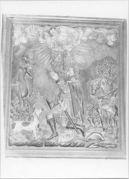 Bas-relief : la Vision de saint Hubert, vue générale