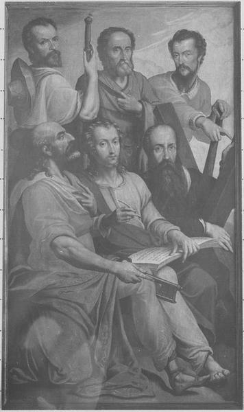 Tableau (triptyque) : la Trinité entourée d'anges portant les instruments de la Passion, détail du volet de gauche