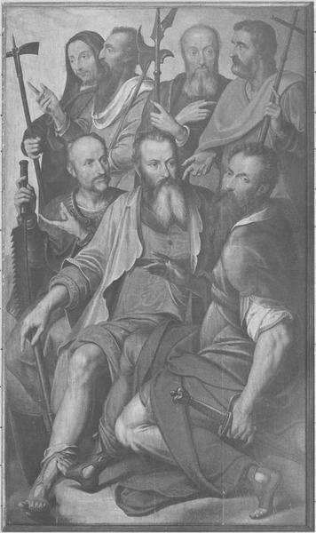 Tableau (triptyque) : la Trinité entourée d'anges portant les instruments de la Passion, détail du volet de droite