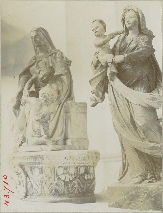 groupe sculpté : Vierge à l'enfant Jésus et saint Jean-Baptiste, statue: Vierge à l'enfant, vue générale