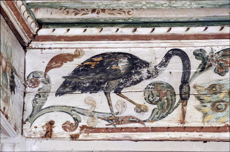 Partie du plafond peint: oiseau
