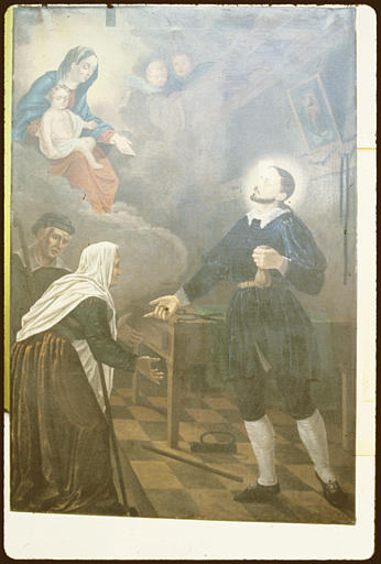 2e chapelle sud, mur est ; tableau : 'Saint Vincent de Paul' ; avant restauration (vue générale)
