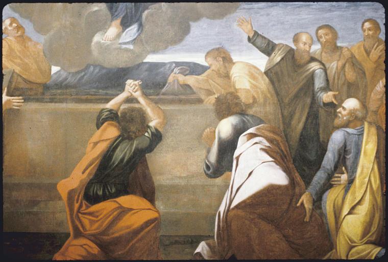 Tableau : 'L'Assomption de la Vierge', tombeau ouvert, apôtres, (moitié inférieure droite) ; après restauration (détail)