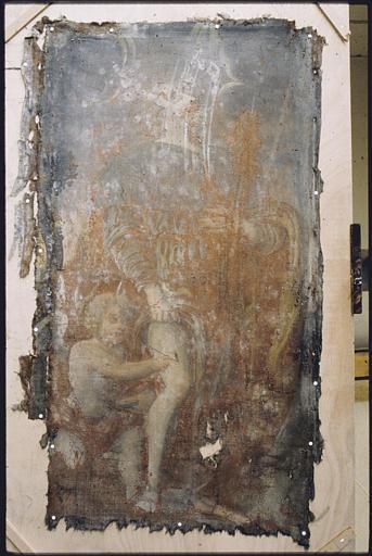Triptyque, tableau d'autel, panneau gauche : 'Saint Roch' ; avant restauration (détail)