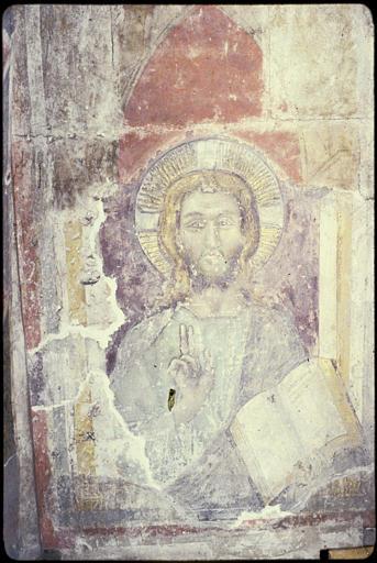Choeur, nord, tombeau de Bernard de Farges ; peinture monumentale : Christ juge, à mi-corps ; après restauration (vue rapprochée)