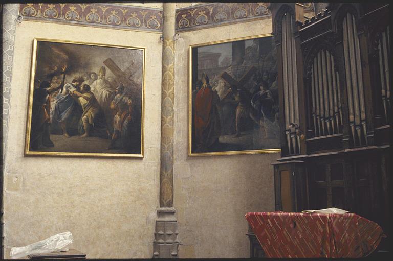 Choeur ; tableau (2) : 'La paix entre Héraclius et Siroës', 'Héraclius portant la Croix' ; 1778 ; après restauration (vue d'ensemble)