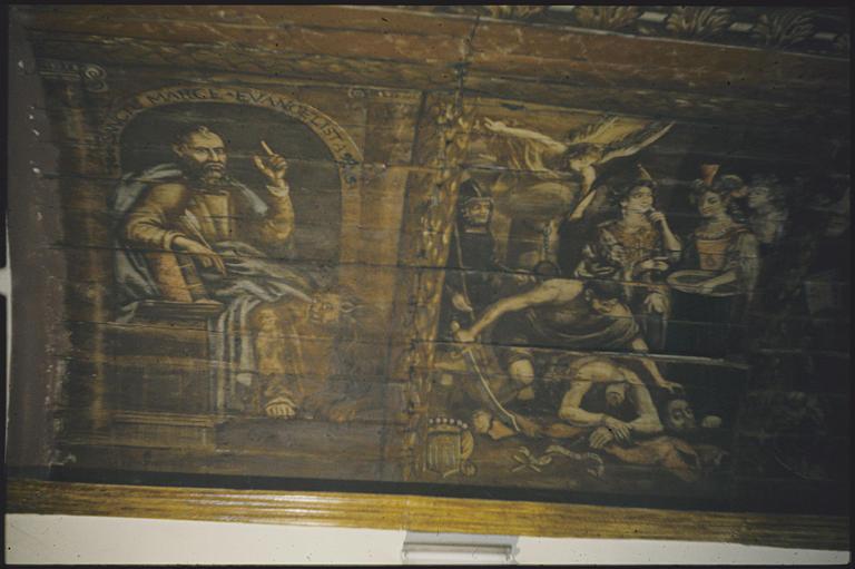 Chapelle, choeur, voûte ; peinture monumentale : 'saint Marc évangéliste', lion, 'La décollation de saint Jean-Baptiste' ; 1705 (détail)