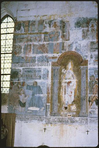 Peinture monumentale : 'Scènes de la vie de sainte Christine' ; avant restauration (partie gauche)