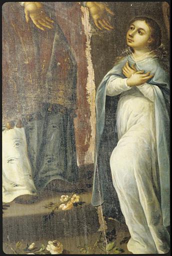 Tableau : 'La présentation de la Vierge au Temple' , détail du manteau du prêtre, la Vierge enfant (détail)