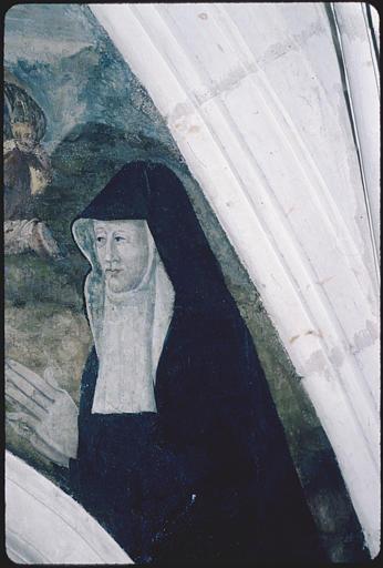 Salle capitulaire ; peinture monumentale (à droite) : 'La mort de la Vierge', religieuse en prière, visage ; après restauration (détail)