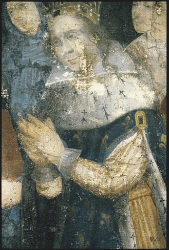 Tableau : 'Commémoration de la fondation d'une confrérie du rosaire en 1616', roi, en prière, mains jointes ; 1620 ; avant restauration