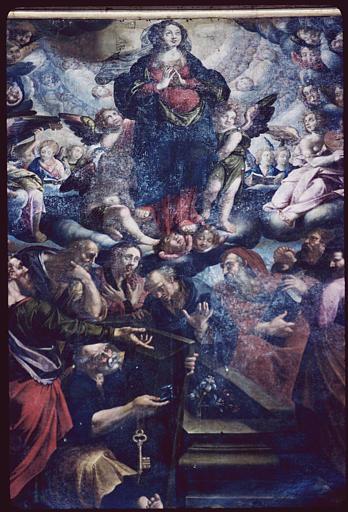 Tableau : 'L'Assomption', apôtres, tombeau ouvert, nuées, Vierge mains jointes, anges, chérubins ; avant restauration