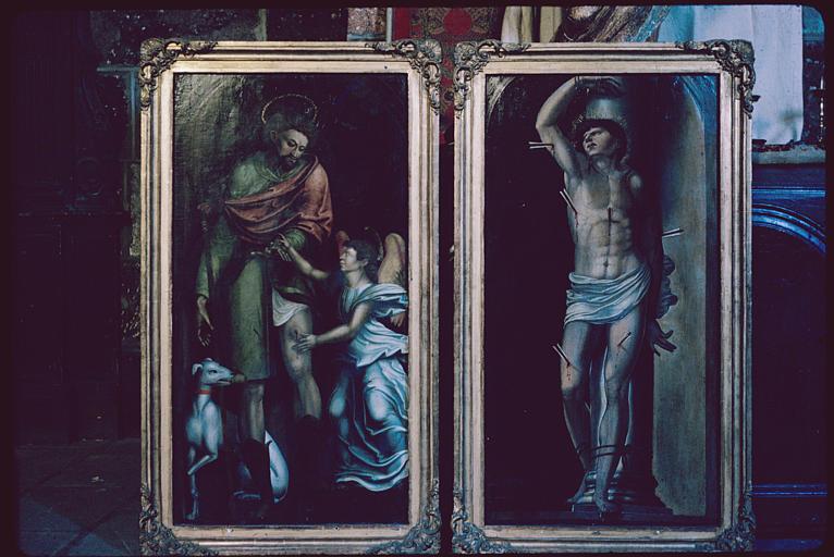 Tableaux (2) : 'Saint Roch', 'Saint Sébastien' ; après restauration