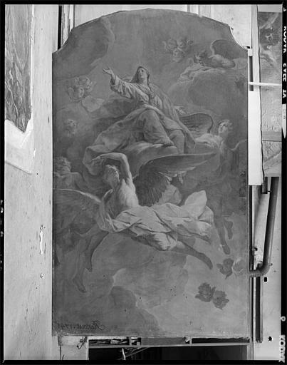 Tableau : 'L'Assomption', Vierge, nuées, anges, chérubins ; 1741