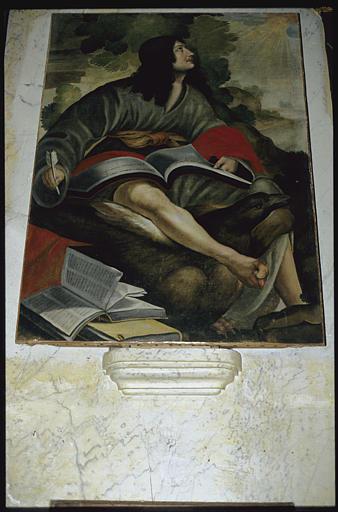 Tableau : 'Saint Jean l'évangéliste', aigle, livres ouverts, plume à écrire ; après restauration