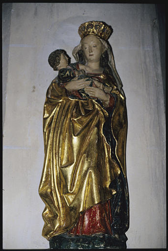 Statue : 'Vierge à l'Enfant', dite 'Notre-Dame des pervenchères', terre cuite polychrome (face)