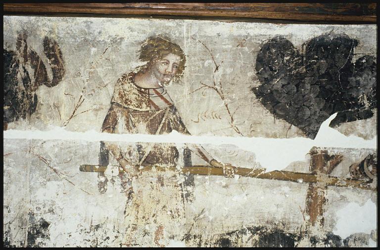 Peinture monumentale : scène de chasse, chasseur pourfendant un sanglier de sa lance ; en cours de restauration (détail)