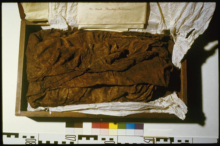 16 pièces textiles dites reliques des Martyrs Seillitains (morceaux de tissu, passementeries)