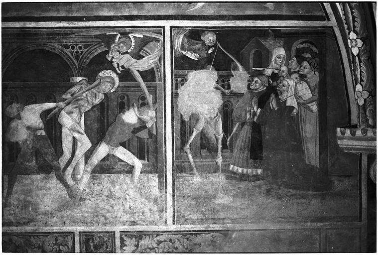 Peinture monumentale : 'Scènes de la vie de saint Sébastien', la mort de saint Sébastien
