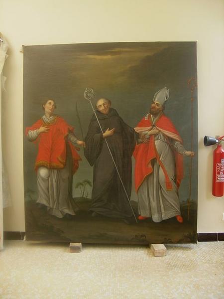 Bas-relief : La Vierge à l'Enfant entre saint Etienne et saint Jean-Baptiste