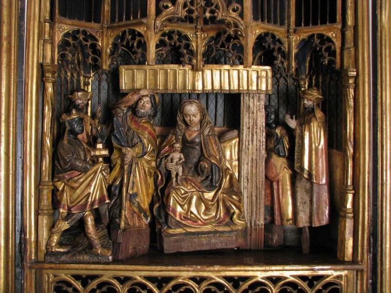 Bas-relief (triptyque) : l'Adoration des Mages, vue partielle