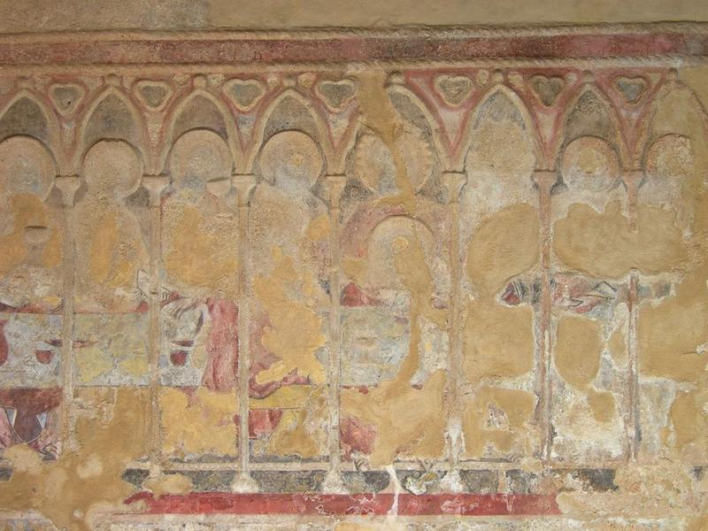 Peintures monumentales, mur nord, La Cène, vue partielle