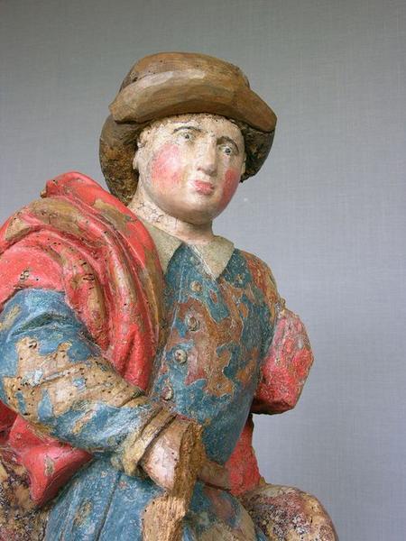 Groupe sculpté : charité de saint Martin (la), vue partielle