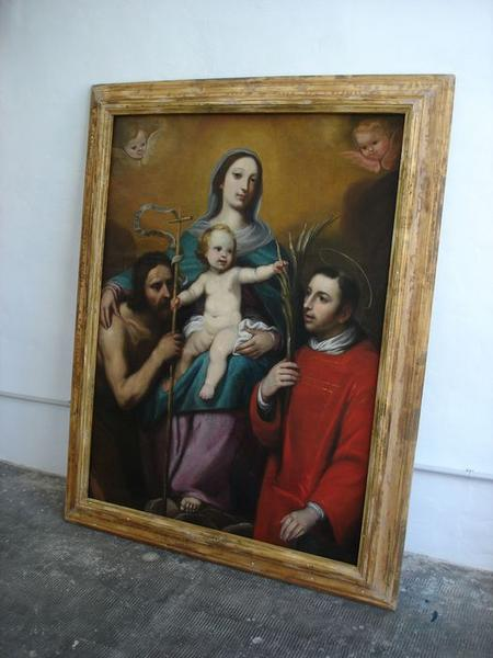 Tableau d'autel : Vierge à l'enfant entre saint Jean-Baptiste et saint Laurent, cadre, vue générale
