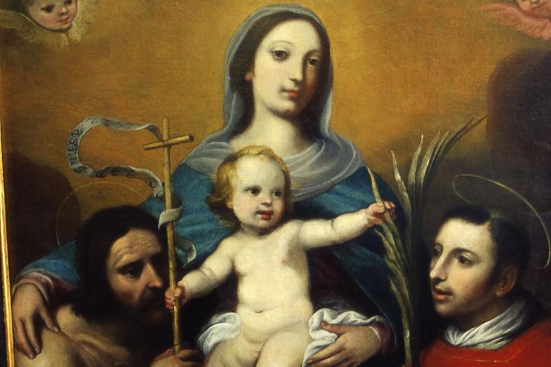 Tableau d'autel : Vierge à l'enfant entre saint Jean-Baptiste et saint Laurent, cadre, vue partielle